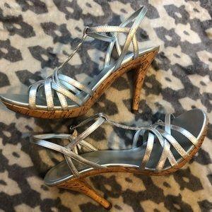 Ralph Lauren Silver Kidskin Heeled Sandals